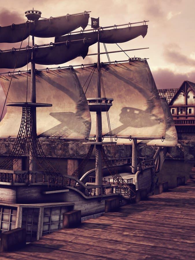 Schip in een dok royalty-vrije illustratie