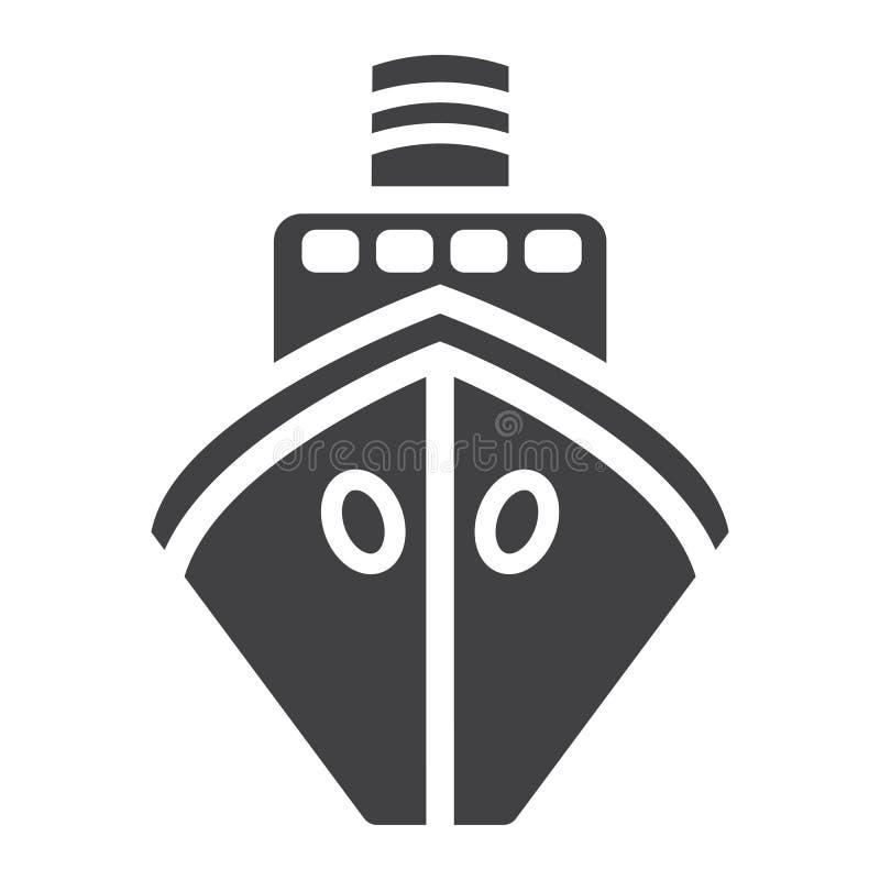 Schip glyph pictogram, vervoer en boot, reisteken stock illustratie