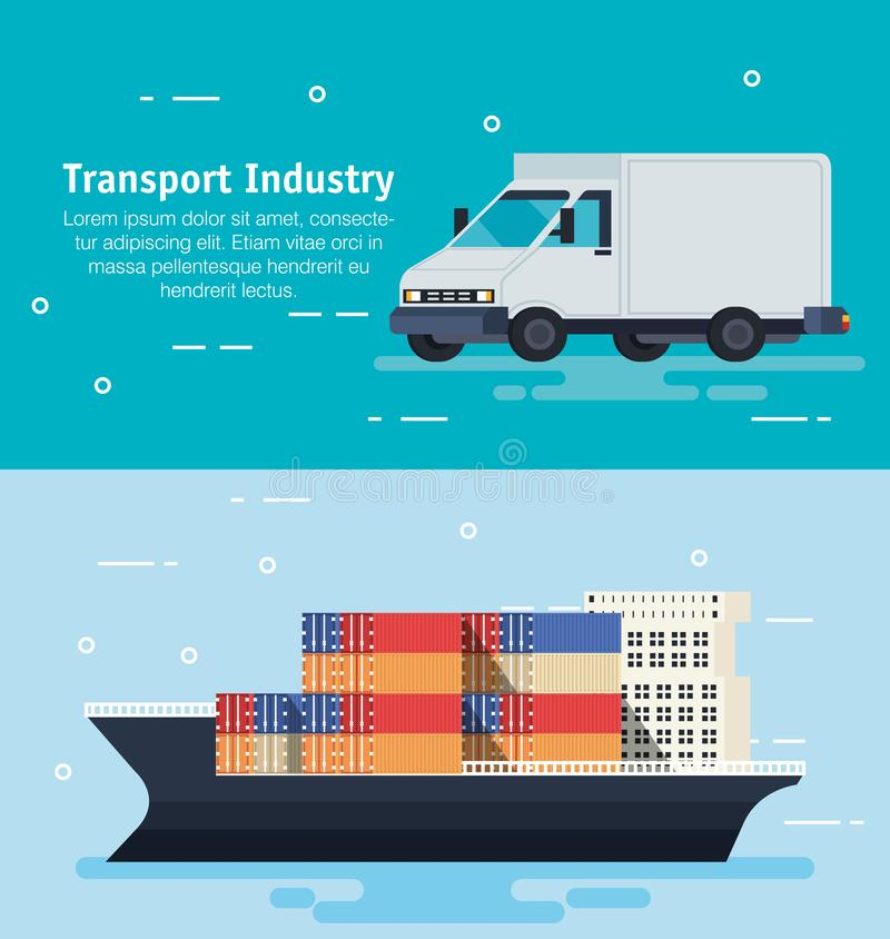 Schip met containers en bestelwagen vector illustratie