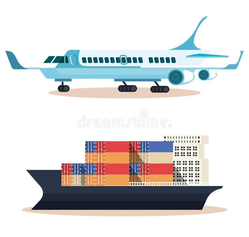 Schip met containers en vliegtuig stock illustratie