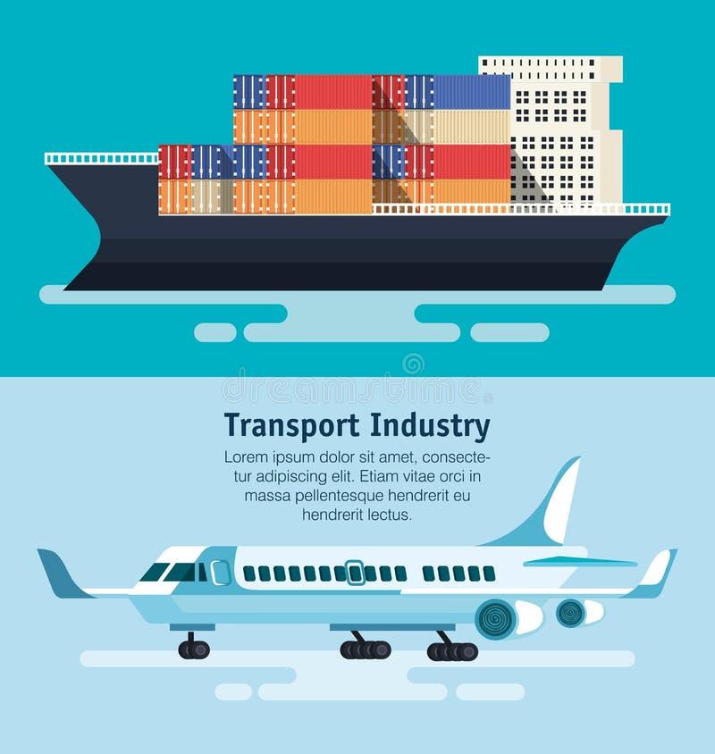 Schip met containers en vliegtuig royalty-vrije illustratie