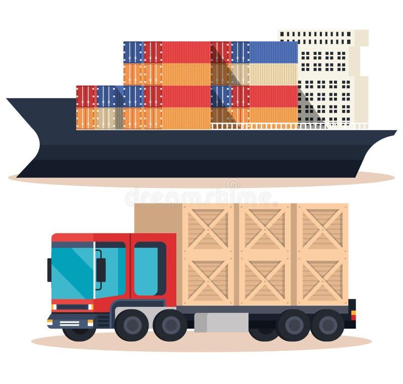 Schip met containers en vrachtwagen stock illustratie