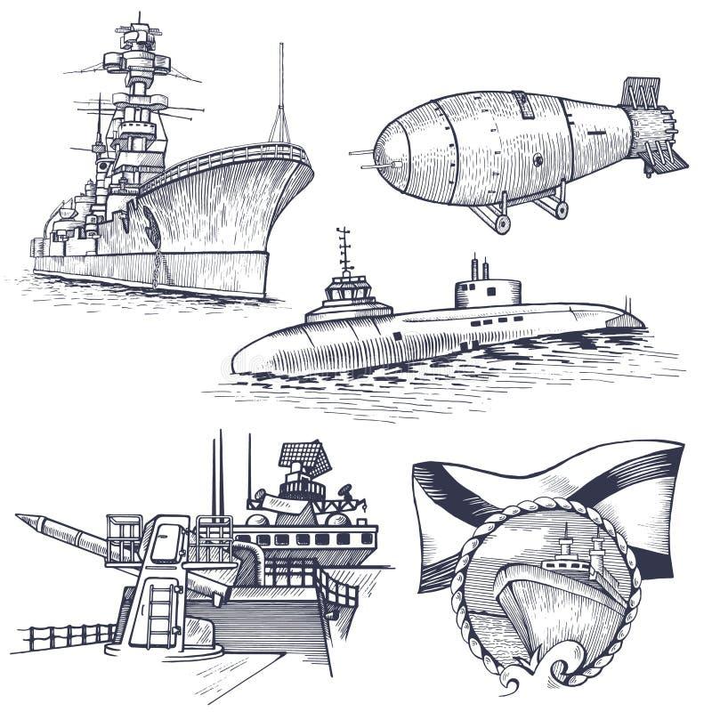 Schip met kernraket stock illustratie