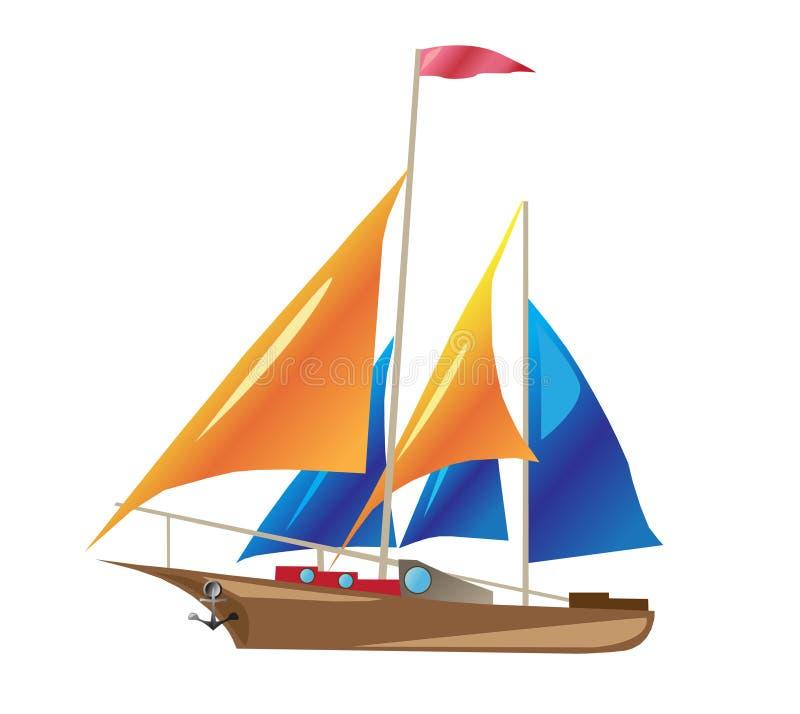 Schip met zeilen stock illustratie
