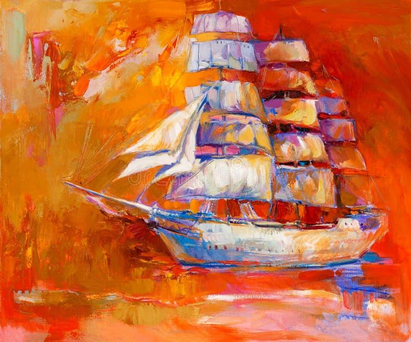 Schip in oceaan royalty-vrije illustratie