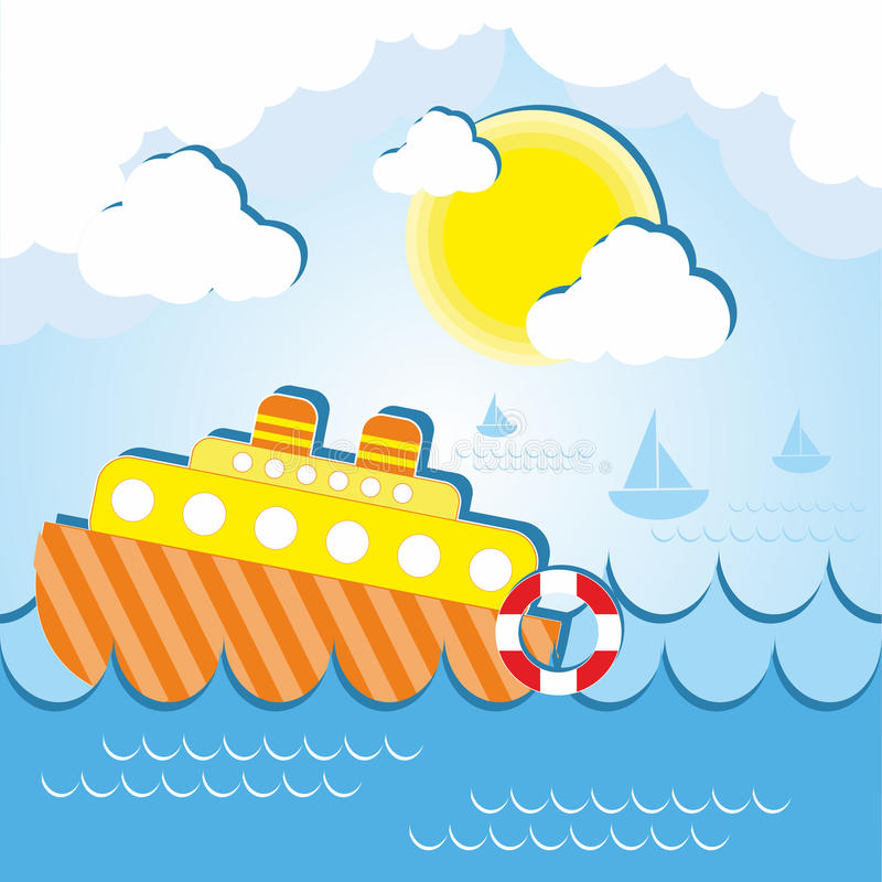 Schip op zee op een zonnige dag royalty-vrije illustratie