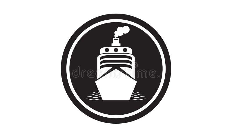 Schip overzees †‹â€ ‹eenvoudig en elegant havenpictogram stock illustratie