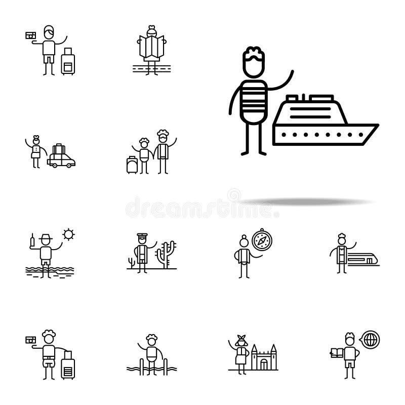 Schip, reizigerspictogram Voor Web wordt geplaatst dat en het mobiele algemene begrip van reispictogrammen stock illustratie