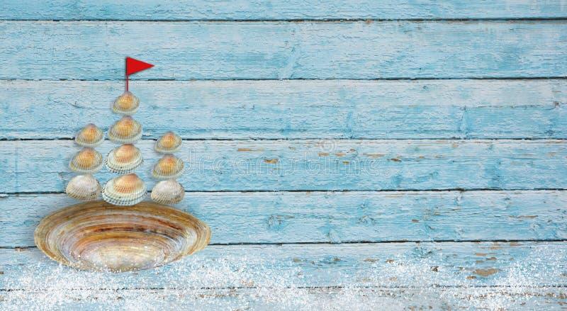 Schip van shells en golven stock afbeelding