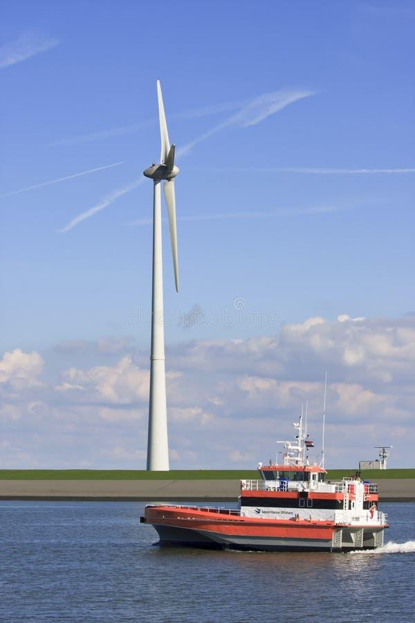 Schip van Wereld Marine Offshore, Eemshaven, Holland stock fotografie