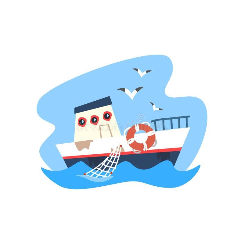 Schip, vissersvaartuig, zeevruchtenproductie, de vectorillustratie van de vissenindustrie op een witte achtergrond stock illustratie