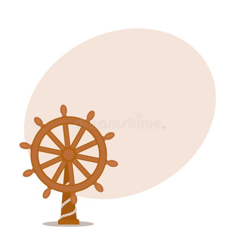 Schip, zeilbootstuurwiel met plaats voor tekst royalty-vrije illustratie