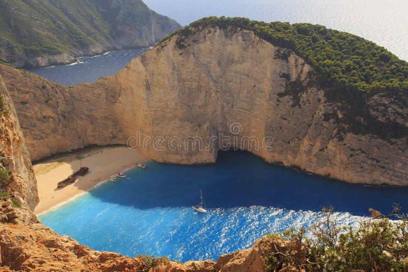 Schipbreuk Navagiostrand, het Eiland van Zakynthos De vakantie van het Eilandzakynthos van Griekenland De meningspunt van het Nav stock afbeelding