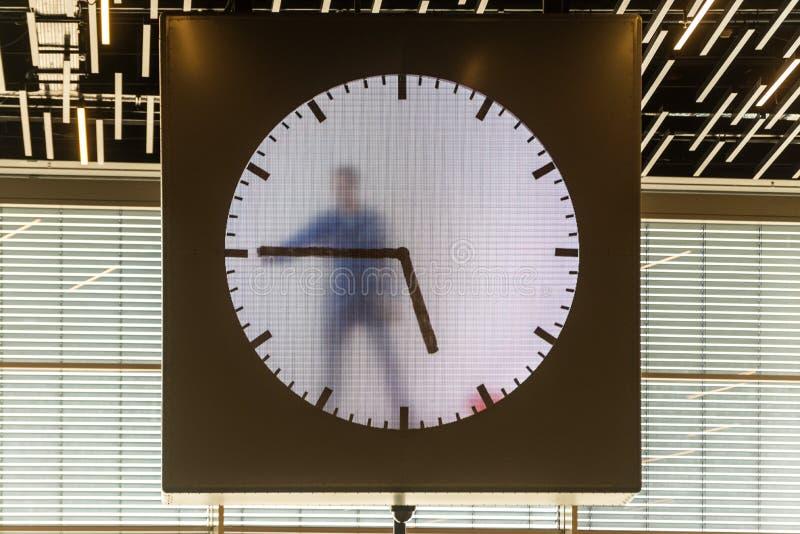 Schiphol πραγματική - χρονικό ρολόι στο Άμστερνταμ, Κάτω Χώρες στοκ φωτογραφία