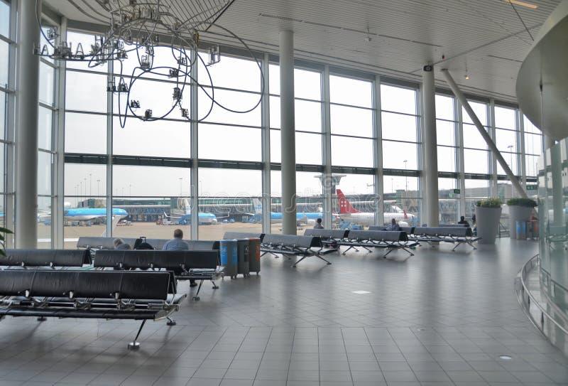 Schiphol airport interior stock photo