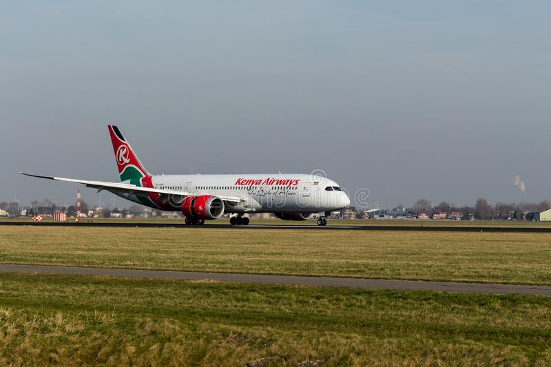 Schiphol Airport, North Holland/The Netherlands - February 16 2019: Kenya Airways Boeing 787-8 Dreamliner 5Y-KZF stock photography