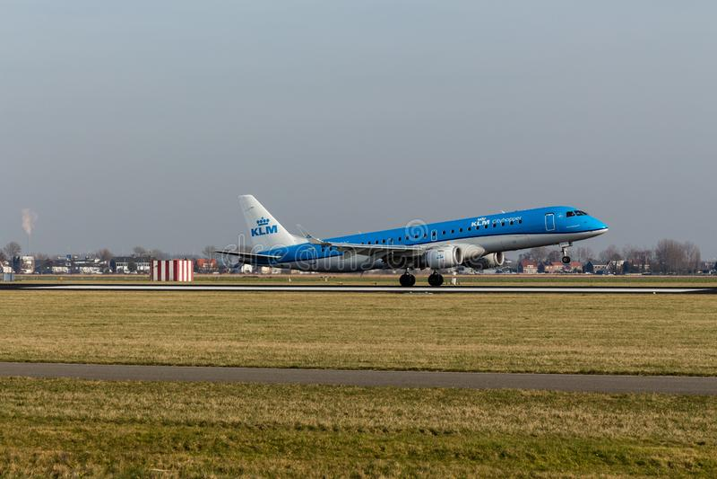 Schiphol Airport, North Holland/The Netherlands - February 16 2019: KLM Cityhopper Embraer ERJ-190 PH-EZC stock images