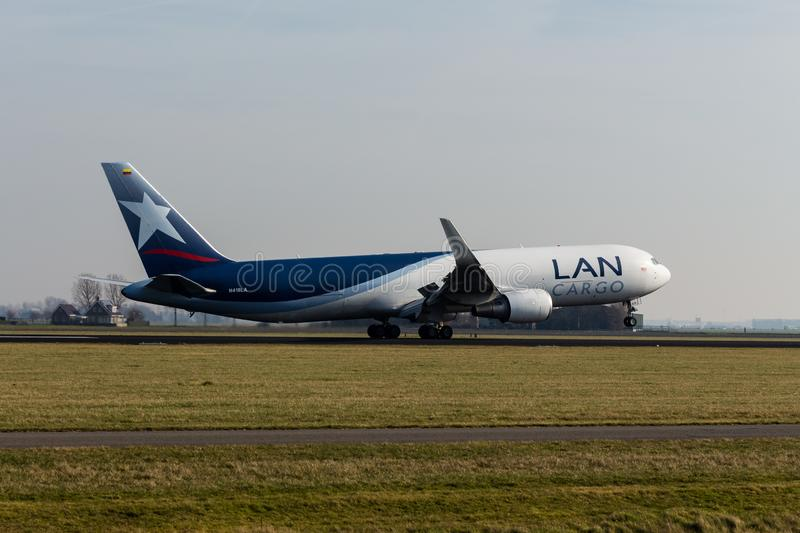 Schiphol Airport, North Holland/The Netherlands - February 16 2019: LAN Cargo Boeing 767-300F N418LA royalty free stock photo