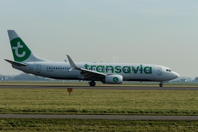 Schiphol Airport, North Holland/The Netherlands - February 16 2019: Transavia Boeing 737-800 PH-HSK stock photo