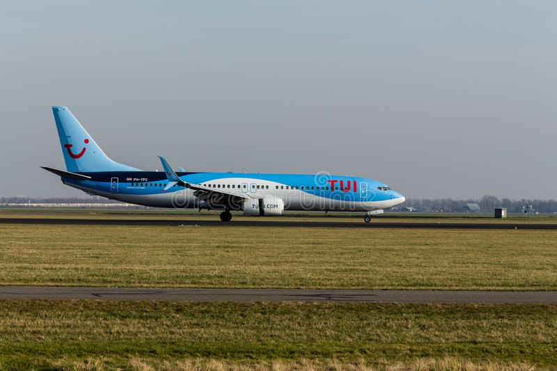 Schiphol Airport, North Holland/The Netherlands - February 16 2019: TUI Airlines Netherlands Boeing 737-800 PH-TFC. Picture from the profile of the plane stock image