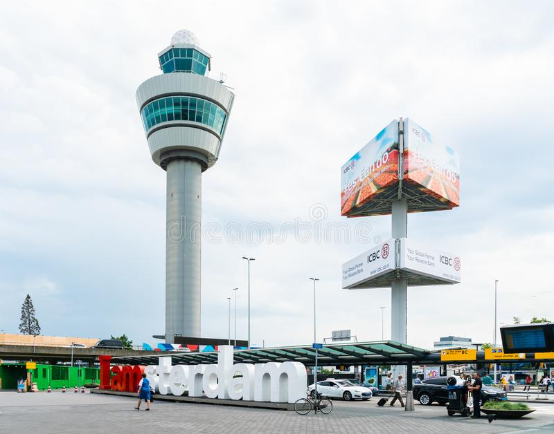 Control tower Schiphol airport stock photo