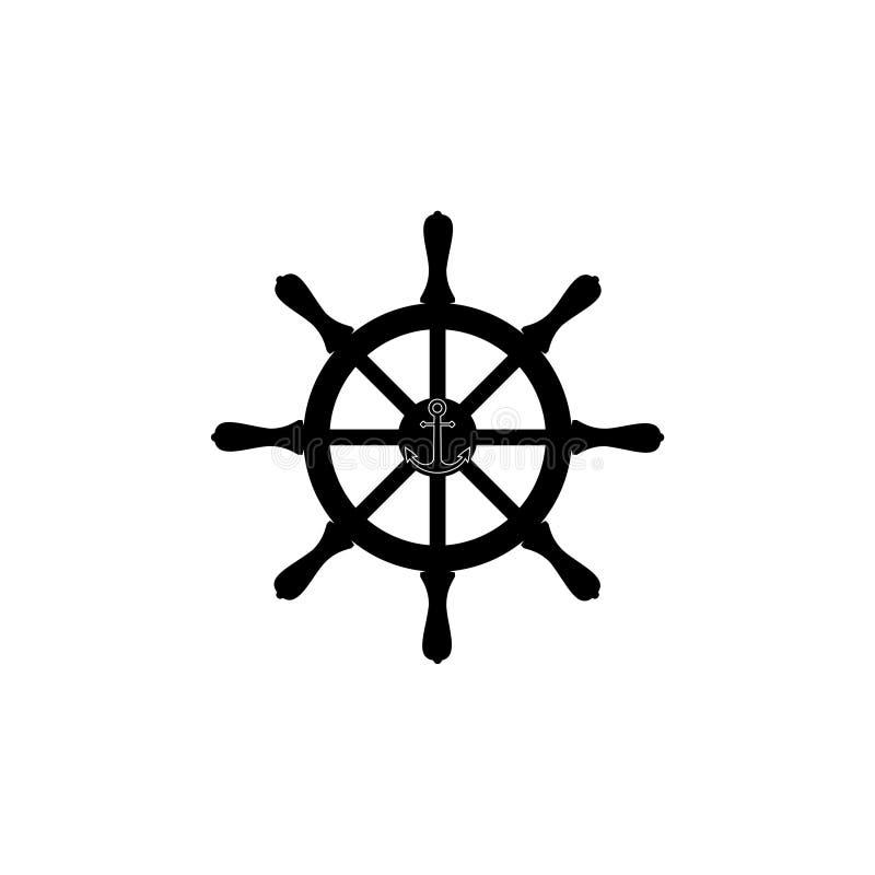 Schipstuurwiel en het symbool van de ankernavigatie stock illustratie