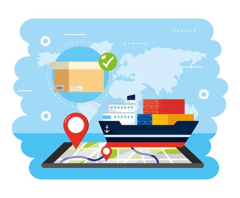 Schipvervoer met smartphonegps plaats en doos vector illustratie