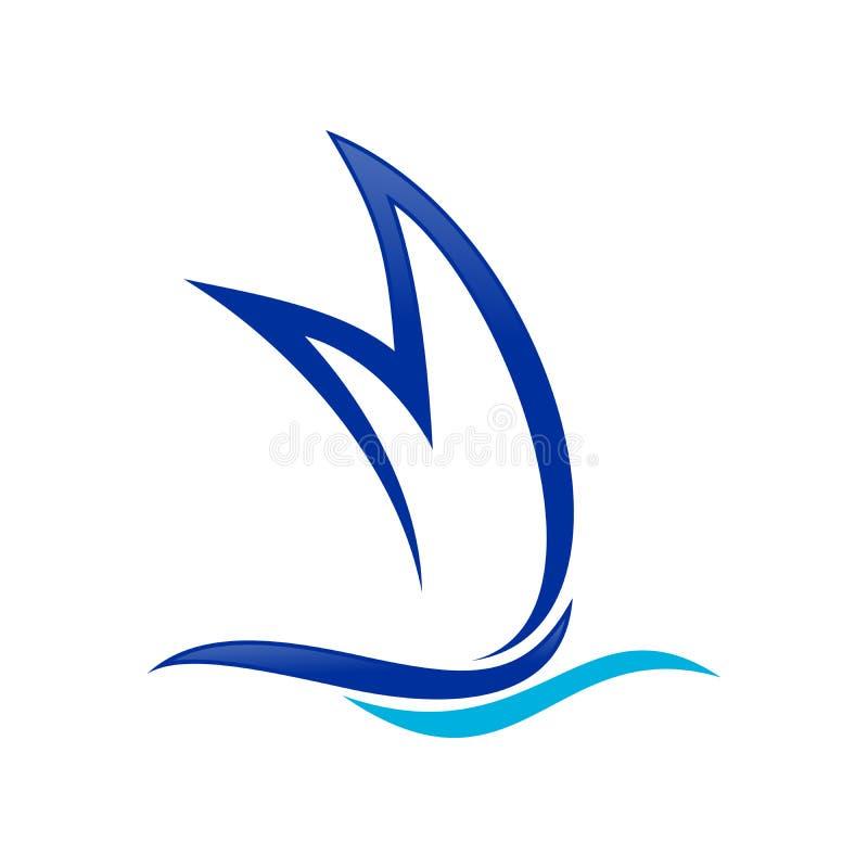 Schipvorm Aanvankelijk M Lettermark Symbol Design stock illustratie