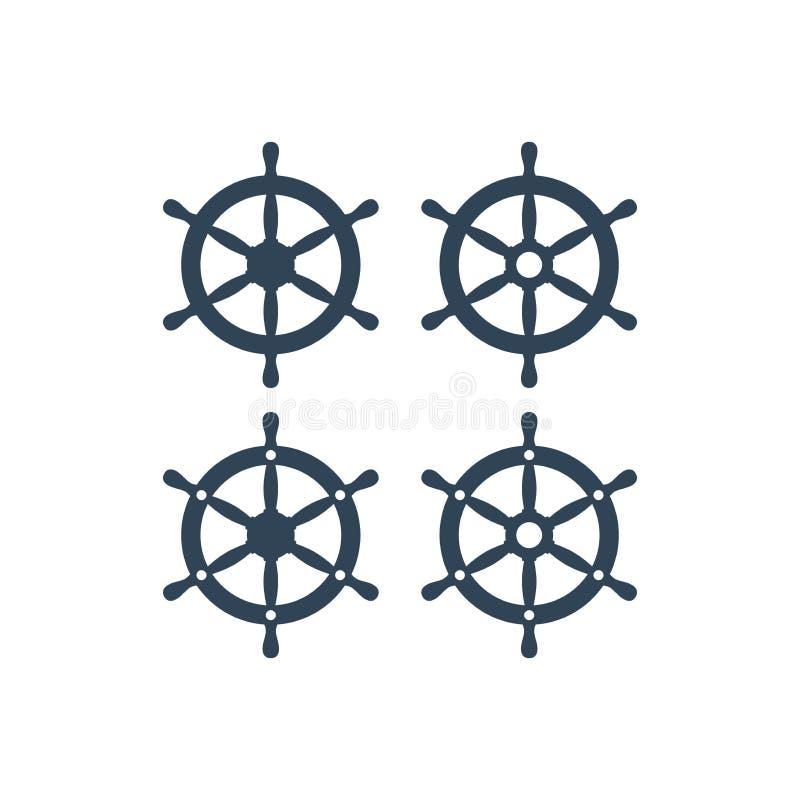 Schipwiel met zes handvatten vectorpictogram stock illustratie
