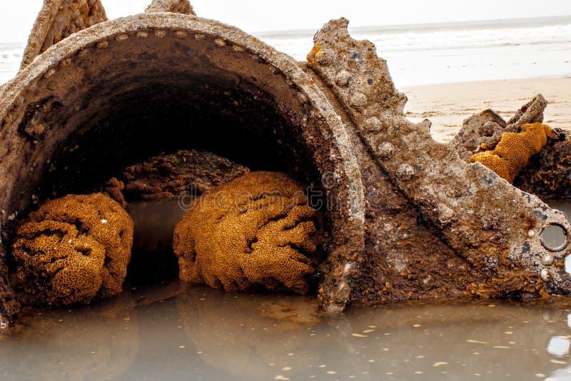 Schipwrak, Duckpool-het strandwrak van Cornwall cornwall het UK stock afbeelding