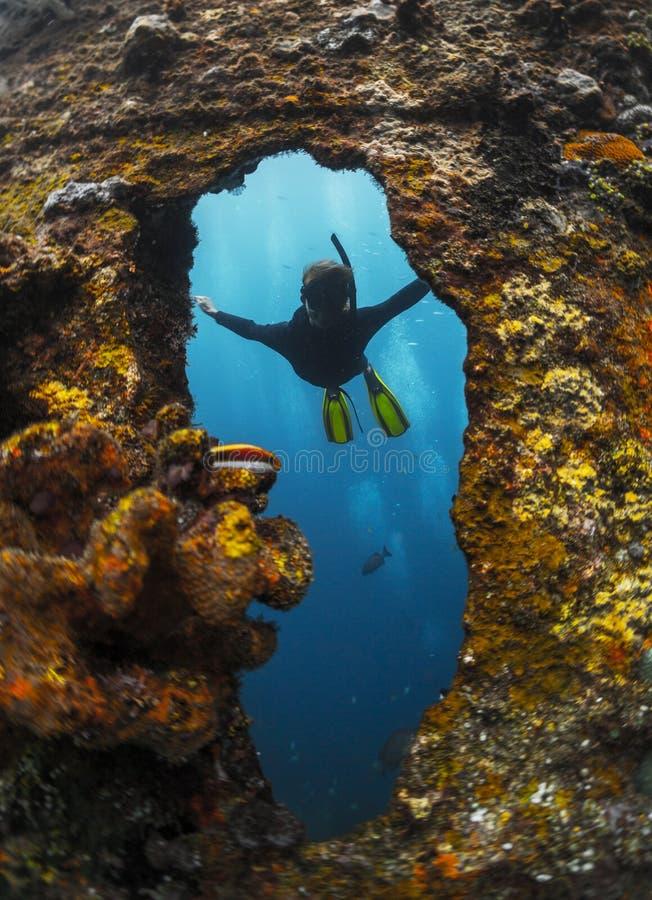 Schipwrak met vrije duiker stock afbeelding