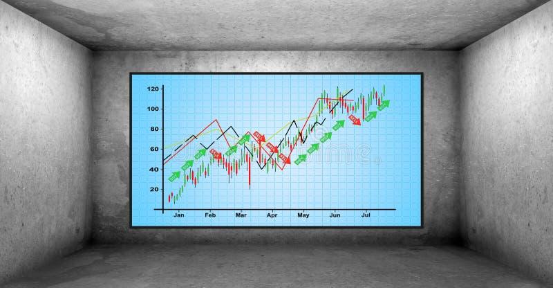 Schirm mit Aktienkurve vektor abbildung