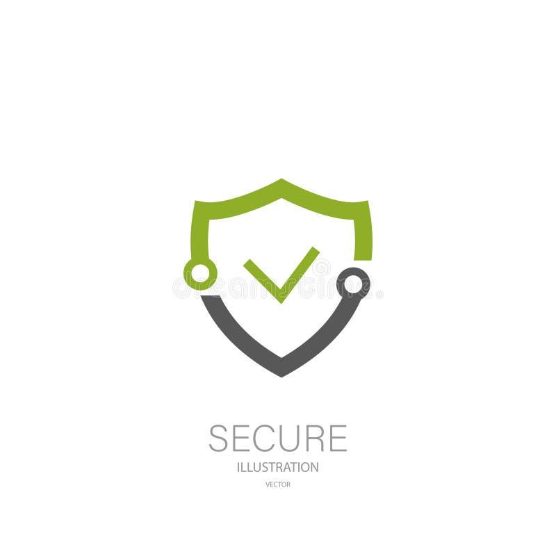 Schirmen Sie securuty Logo, stilvolles Design der Ikone, Vektor ab stock abbildung