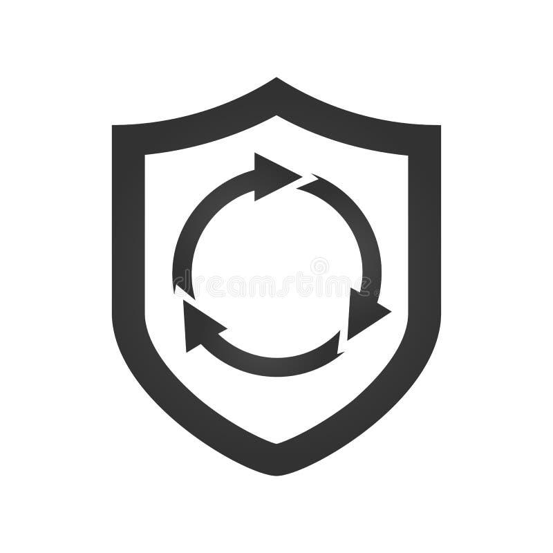 schirmen Sie Sicherheitskonzept mit Kreispfeilen, v-ector Illustration ab, die auf weißem Hintergrund lokalisiert wird lizenzfreie abbildung