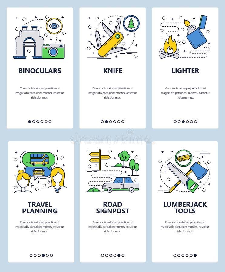 Schirmschablone der linearen Kunst der Vektorwebsite onboarding Reiseplanung und kampierende Ferien im Freien Ferngläser, Messer stock abbildung