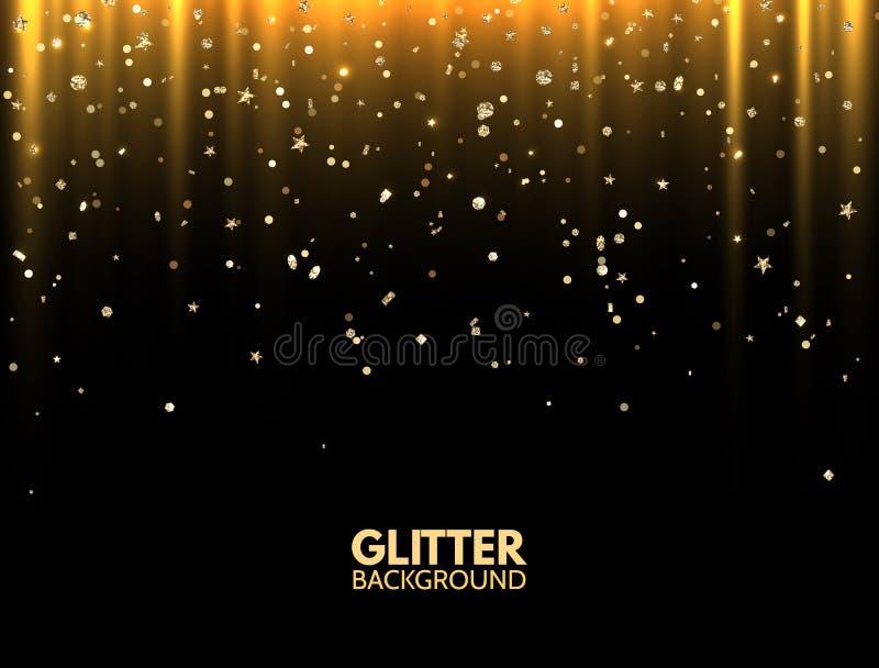 schitter achtergrond De gouden lichte stralen met het magische stof Gouden fonkelen schitteren De groetkaart van luxekerstmis De  royalty-vrije illustratie