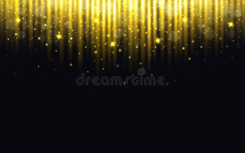 schitter achtergrond Kerstmislichten met bokeh Gouden deeltjes op zwarte achtergrond Groetkaart met gouden Nieuw stof royalty-vrije illustratie