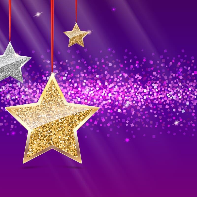 Schitter achtergrond met zilveren en gouden sterren die op rode linten hangen Gevulde niet groetkaart voor Vrolijke Kerstmis royalty-vrije illustratie