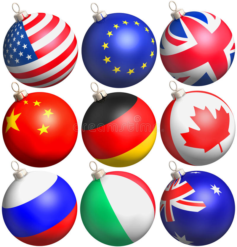Schitter ballen met vlaggen stock illustratie