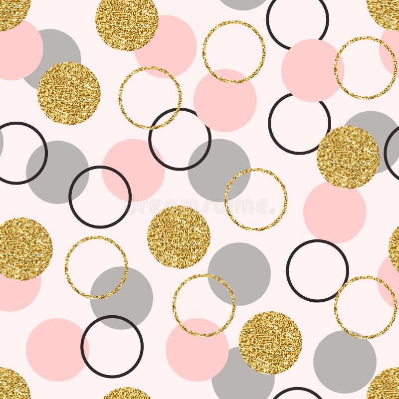 Schitter cirkel naadloos patroon Gouden cirkels met fonkelingen en het Behangontwerp van het sterstof met schitterend goud, grijs stock illustratie