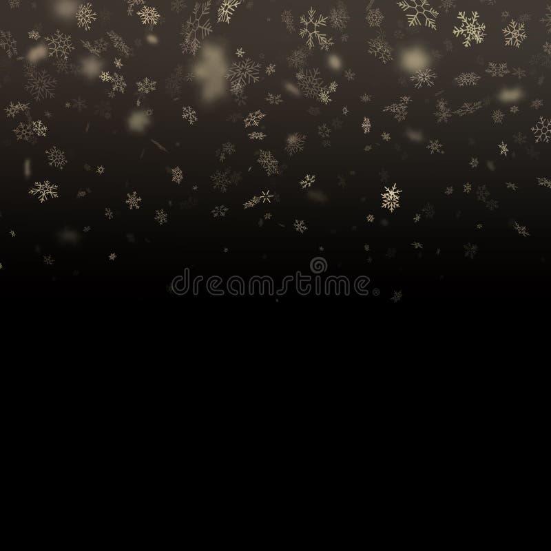 Schitter de bekledingseffect van deeltjessneeuwvlokken De gouden schitterende fonkelende deeltjes van het sterstof op zwarte acht vector illustratie