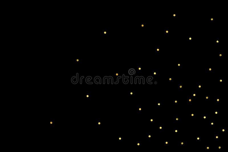 Schitter gouden deeltjes op zwarte achtergrond royalty-vrije illustratie