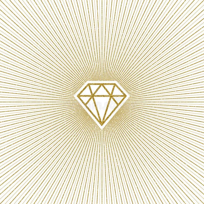 Schitter gouden glanzende diamant met zonnestraal stock illustratie