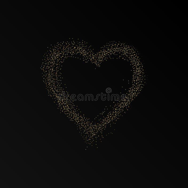 Schitter hartkader De gelukkige Achtergrond van de Dag van Valentijnskaarten Gloeiende gouden stroom van confettiendeeltjes Ben m royalty-vrije illustratie