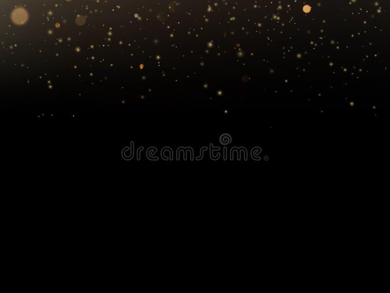 Schitter het effect van de deeltjesbekleding De gouden schitterende fonkelende deeltjes van het sterstof op zwarte achtergrond Ep vector illustratie