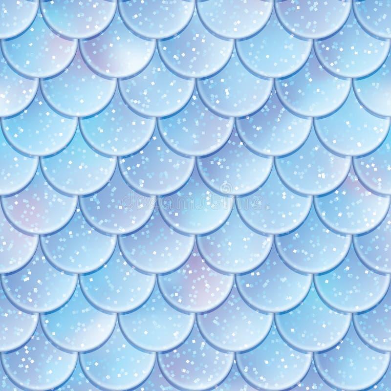 Schitter het naadloze patroon van vissenschalen De textuur van de meerminstaart Vector illustratie stock illustratie