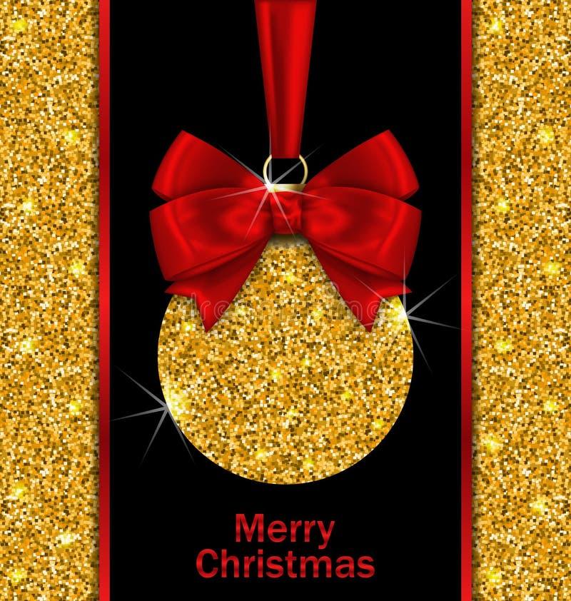 Schitter Kaart met Kerstmisbal royalty-vrije illustratie