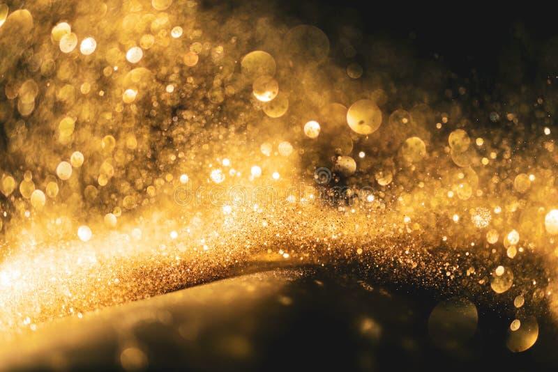 Schitter lichten grunge achtergrond, schittert het goud defocused abstracte Twinkly-Lichtenachtergrond royalty-vrije stock foto