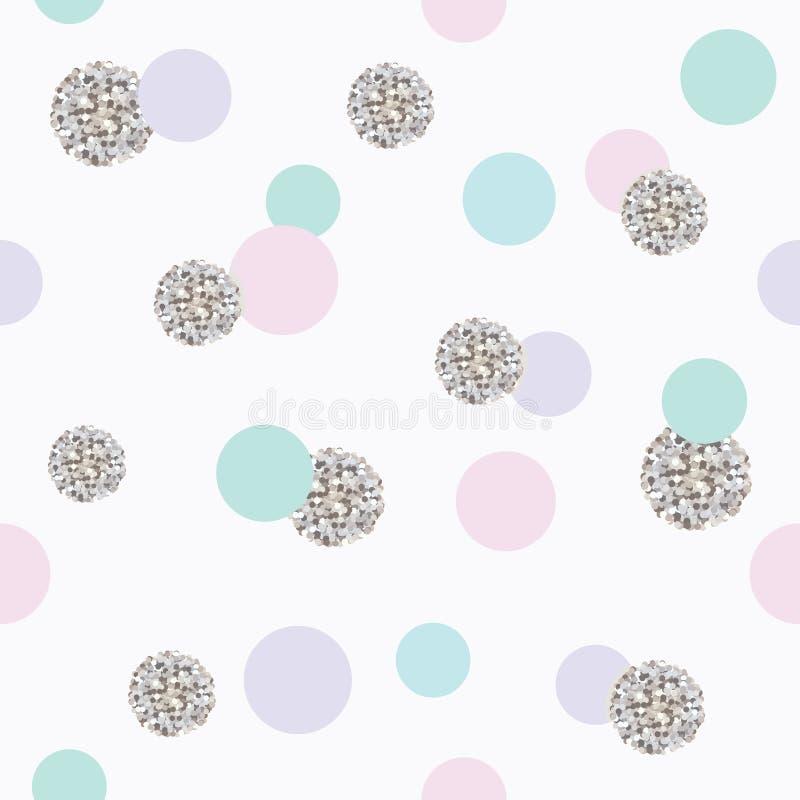 Schitter naadloze het patroonachtergrond van de confettienstip vector illustratie