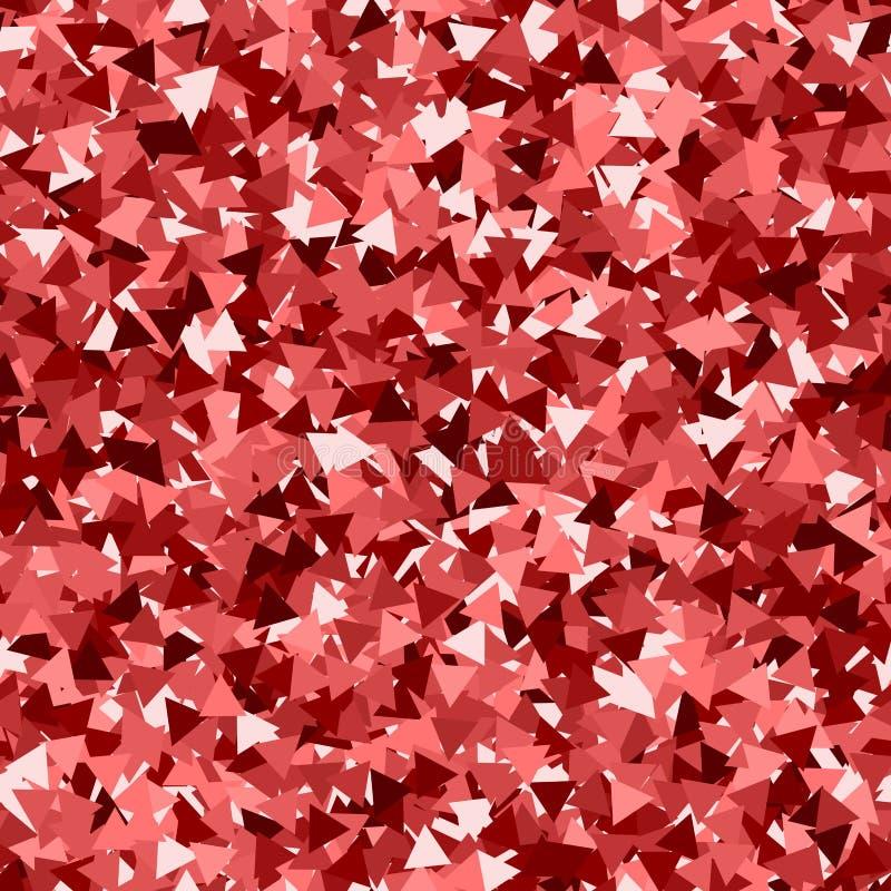 Schitter naadloze textuur Aanbiddelijke rode deeltjes Eindeloos die patroon van fonkelende driehoeken wordt gemaakt Radia stock illustratie
